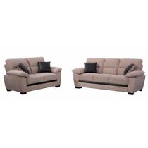 Juego De Living Sofa Tapizado En Tela Estructura De Madera