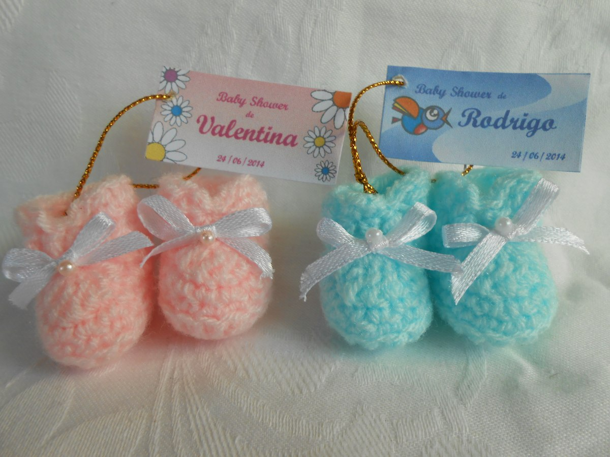 Souvenirs Para Baby Showers Para Varon ~ Souvenir nacimiento crochet souvenirs escarpines a