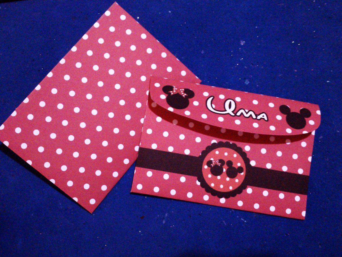 Tarjetitas De Cumpleaños C Sobre En Cartulina Mickey Minnie - $ 12 ...