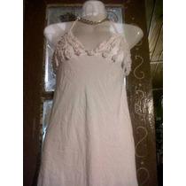 Vestido Solera Tela Lycrada Blanca Con Bustier Con Volados