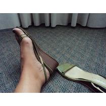 Sandalias Zapatos Taco Corrido De Madera