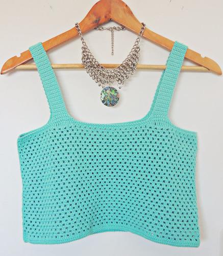 Top Tejido Crochet Turquesa /blanco