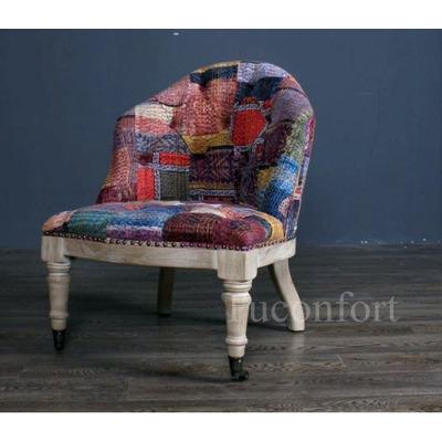 Butaca sillon silla poltrona roble tapizada en tela hindu for Poltronas en montevideo