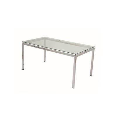 mesa de vidrio rectangular base cromada comedor 160x90cm